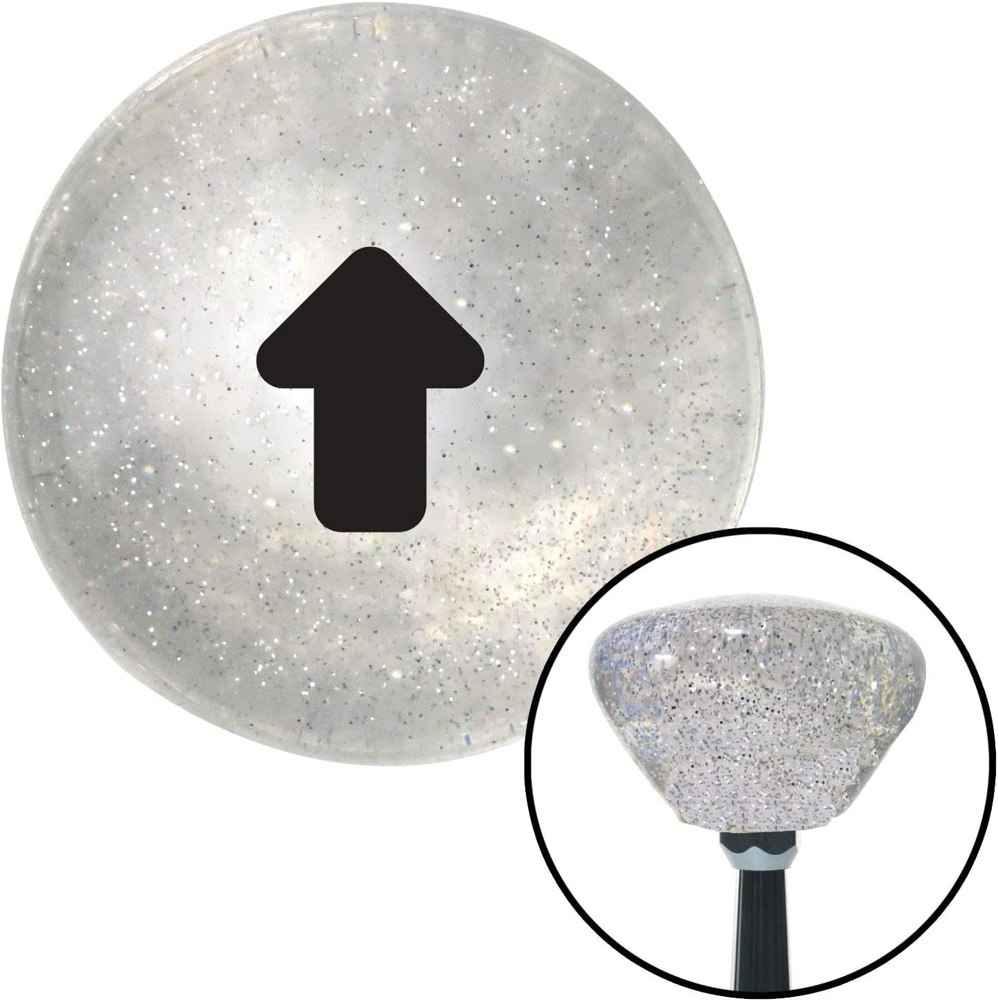 American Shifter 159504 Clear Retro Metal Flake Shift Knob with M16 x 1.5 Insert Black Bubble Solid Arrow Up