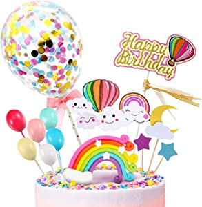 MOVINPE Happy Birthday Cake Topper, Rainbow Cloud Cake Decoration, Confetti Balloons, For Boys Girls Kids Birthday Party Decoration