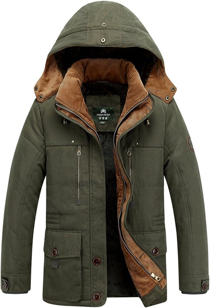 Lentta Men's Casual Winter Warm Thick Hooded Heavy Fleece Lined Parka Jacket Coat (XX Large, Army Green)