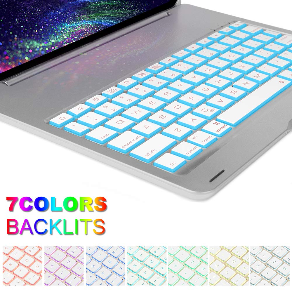 Keyboard Case for iPad Pro 11,130 Degree Rotation, 7 Color Backlit Keyboard,Thin and Light Case,BT Connect, iPad Pro 11 Keyboard Case, (Silver, 11)