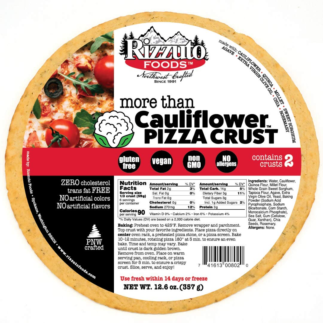 "Rizzuto 10"" More Than Cauliflower Pizza Crust - 4 Crusts - Gluten Free, Vegan, Low Carb"