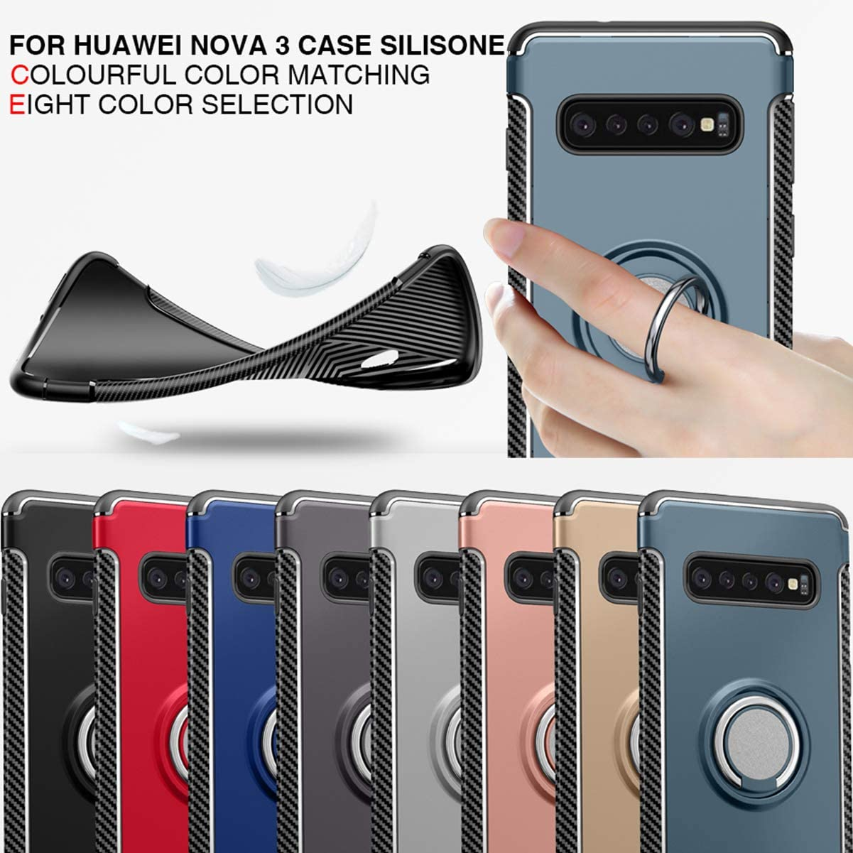 Red+Car Holder Hybrid TPU+PC Built-in Car Magnetic Suction Bracket Finger Ring Shockproof Case with car Magnetic Holder Woskko Galaxy S10 case