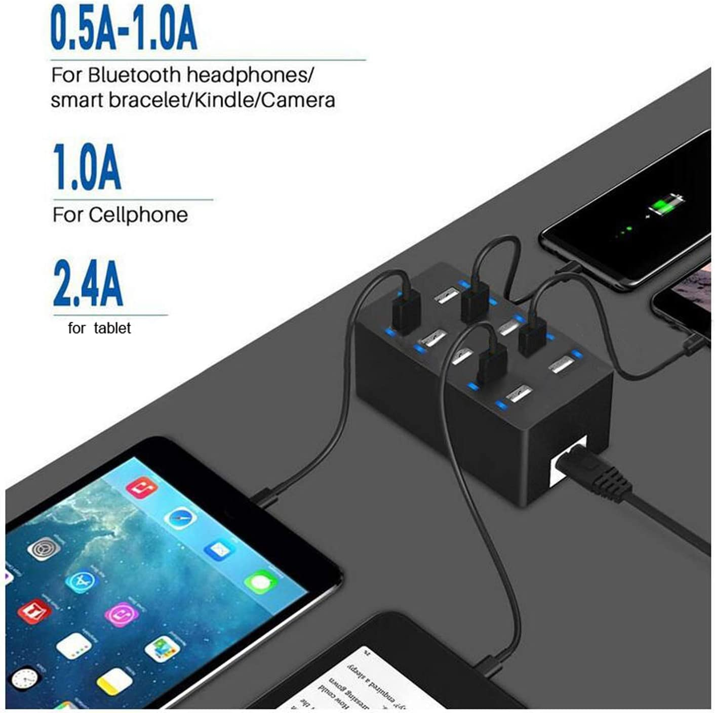 ShengLong USB Charging Station Compatible with iPhone iPad Tablet USB Charger Multi Port with Smart Detect 60W 10 Port USB Charger Hub Galaxy and Other USB Charging Devices