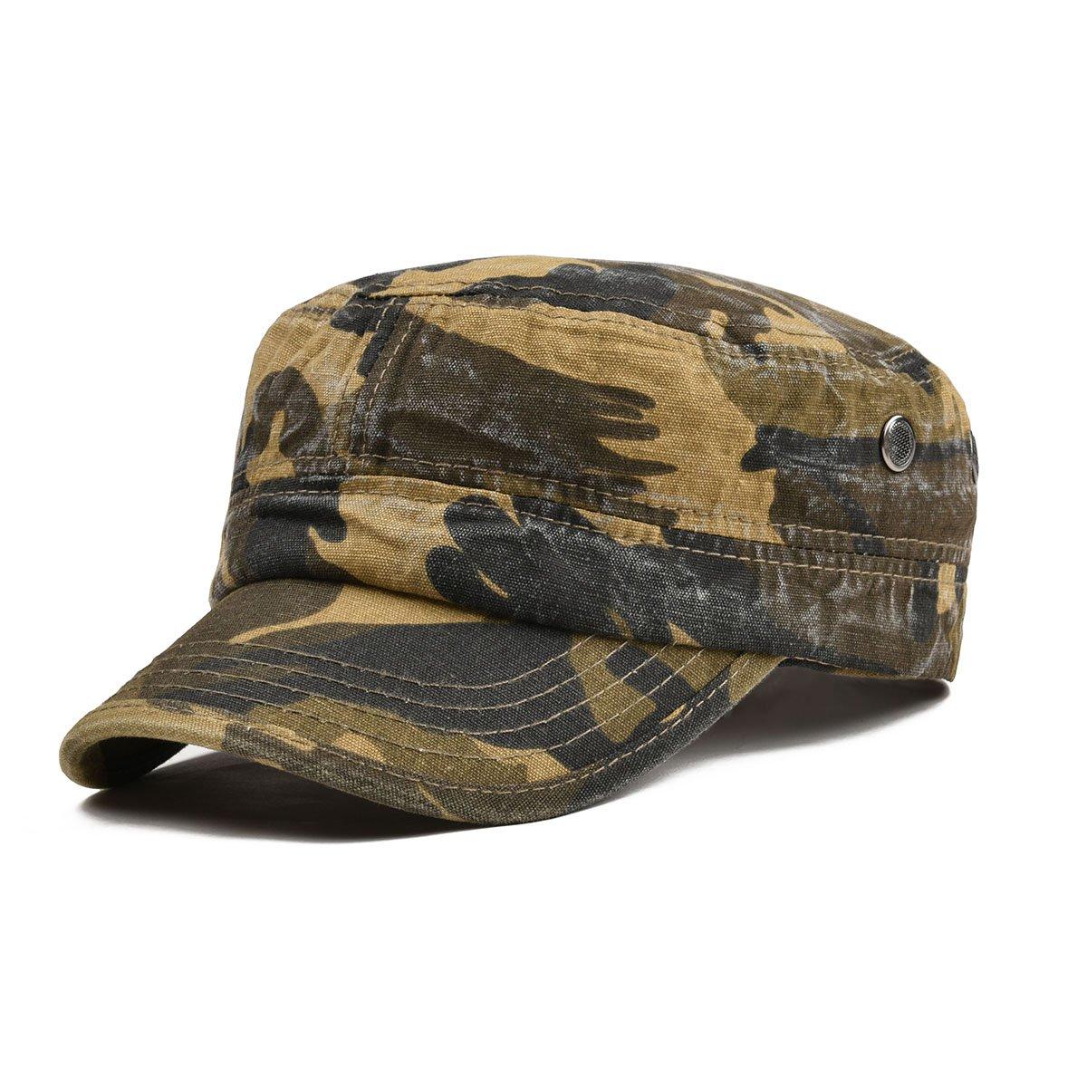 VOBOOM Washed Cotton Military Caps Cadet Army Caps Unique Design Vintage Flat Top Cap BDMZ162-A-gren