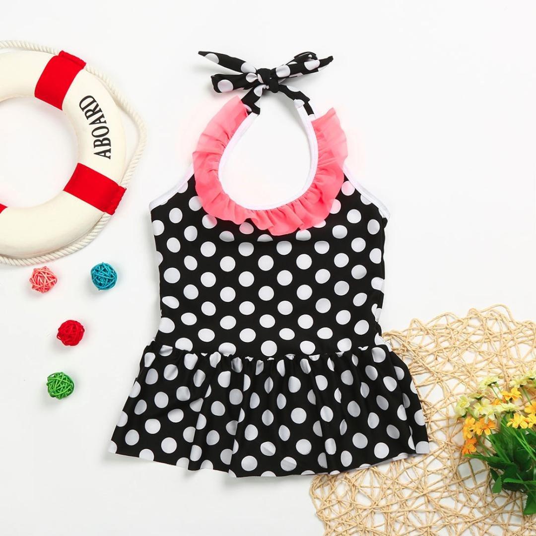 Fartido Baby Kid Girl Swimsuits Bathing Dot Swimwear Bikini Dress Beach Clothes