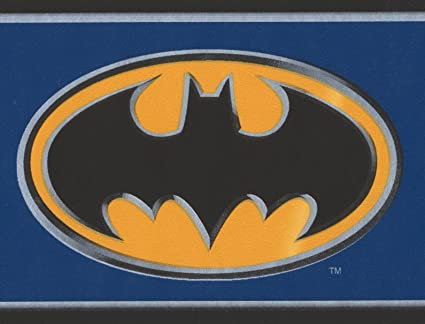 Batman Black On Yellow Sign Stylish Blue Wallpaper Border For Kids Roll 15 X