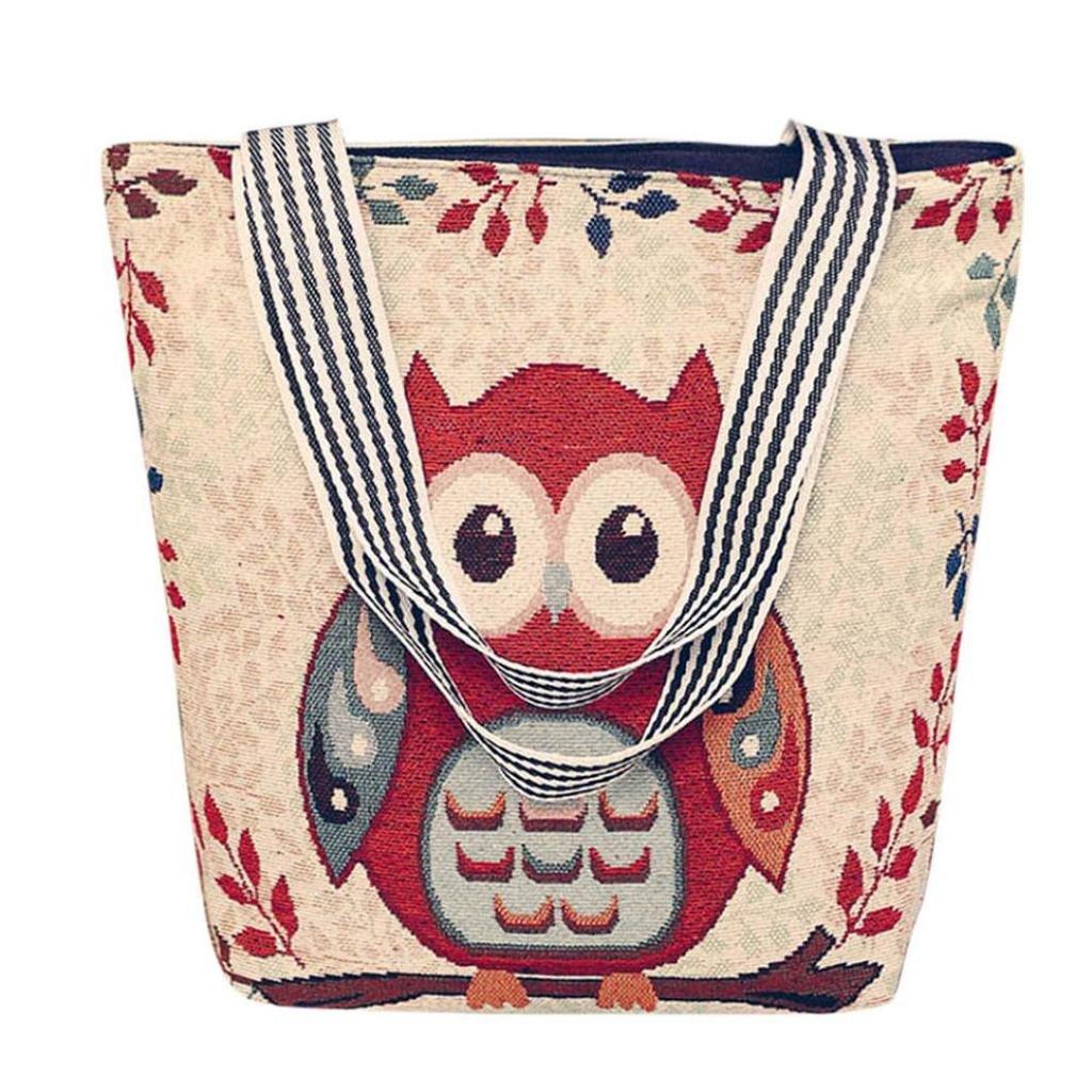 VJGOAL Damen Schultertasche, Damen Mädchen Cartoon Eule Canvas Handtasche Schultertasche Umhängetasche Schultertaschen Geschenk der Frau A) VJGOAL-58