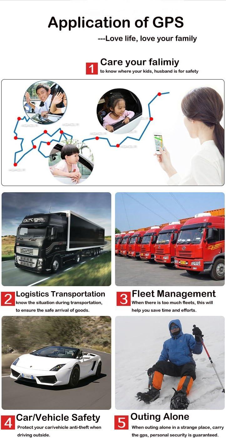 KUCE GPS Tracker 90 Jours en Veille Traceur GPS Anti-Perdu Localisateur Traqueur Locator pour Voiture SUV Moto Camion v/éhicules TK816
