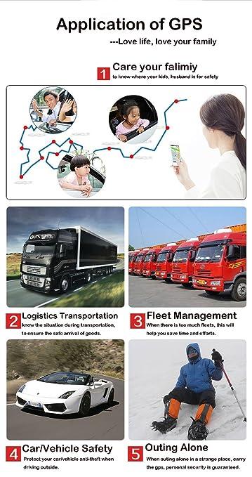 Hangang Localizador gps para coche , GPS Tracker APP / Sitio web posición en tiempo real Antirrobo GPS Localizador para Vehículos fuerte imán y 5000 ...