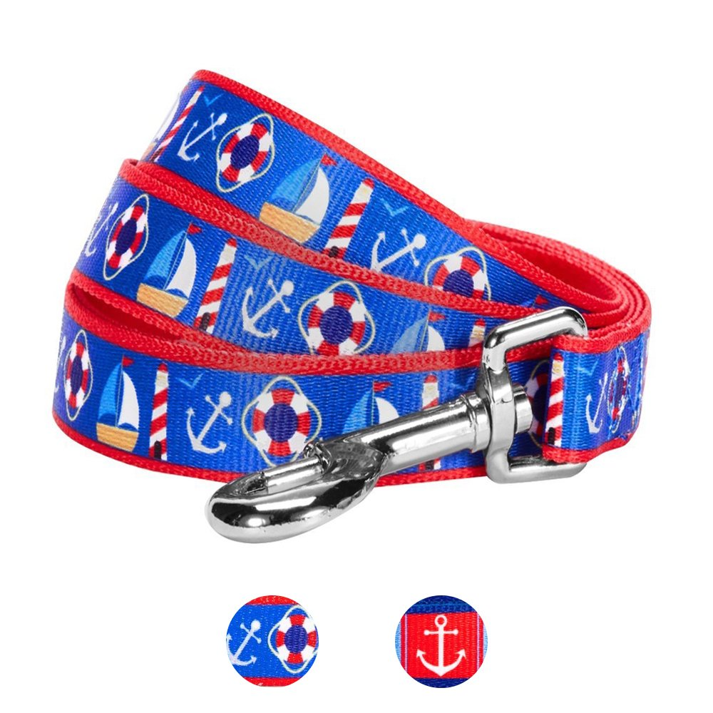 Blueberry Pet 2 Patterns Peace Bon Voyage Nautical Blue Dream Designer Dog Leash, 5 ft x 5/8'', Small, Durable Leashes for Dogs