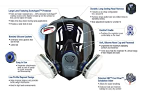 3M Ultimate FX Full Facepiece Reusable Respirator FF-403/89424, Respiratory Protection, Large