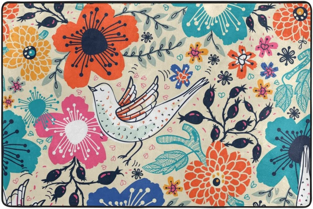 Amazon Com My Daily Cartoon Bird And Flower Floral Vintage Area Rug 2 X 3 Feet Living Room Bedroom Kitchen Decorative Unique Lightweight Printed Rugs Carpet Kitchen Dining