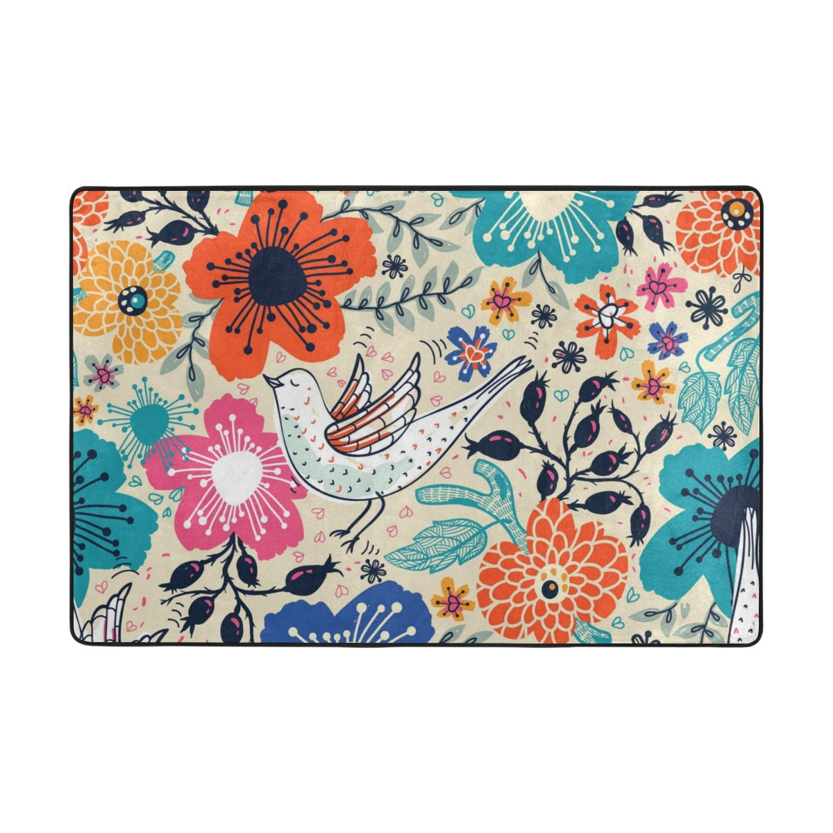 My Daily Cartoon Bird and Flower Floral Vintage Area Rug 4 x 6 Feet, Living Room Bedroom Kitchen Decorative Unique Lightweight Printed Rugs Carpet