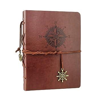 VEESUN Cuaderno de Cuero A5, Retro Libreta de Viaje, Cuaderno Vintage Agenda, Recargable Bloc de Libros en Blanco Diary Regalo, Diario de La Vendimia ...