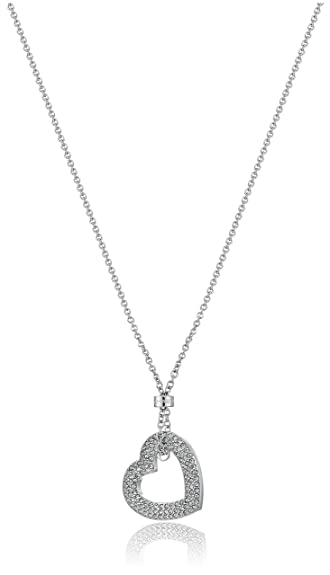 e20b5d4a148e Amazon.com  Michael Kors Brilliance Silver-Tone and Pave Open Heart Pendant  Necklace