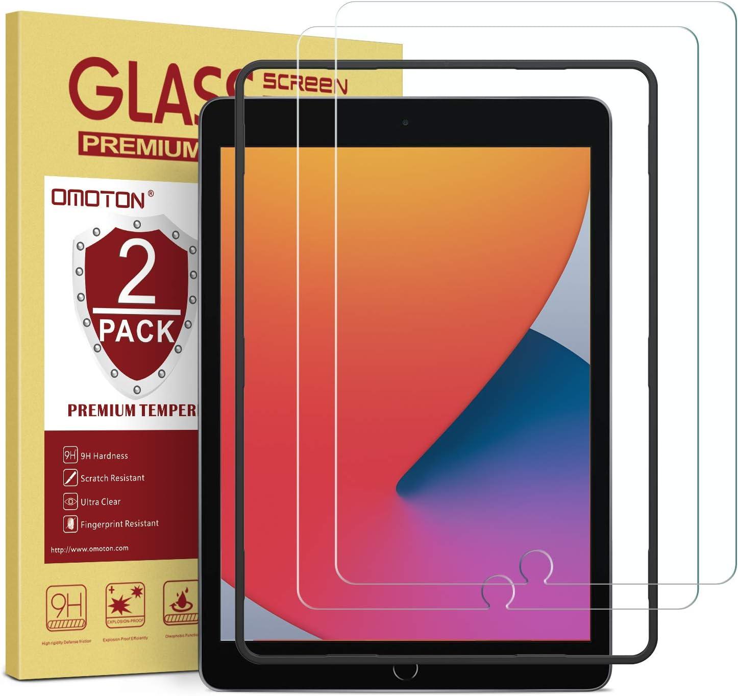 OMOTON - Protector de Pantalla para iPad 8 generación (2020)/iPad 7ª generación(2019) de 10,2 Pulgadas, iPad Air 3 2019, iPad Pro 10,5 (Cristal Templado, Alta definición, sin Burbujas)