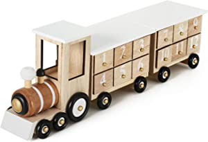 BRUBAKER Advent Calendar Wooden Christmas Train White - Natural Colors - 18.1 x 3.7 x 4.2 inches