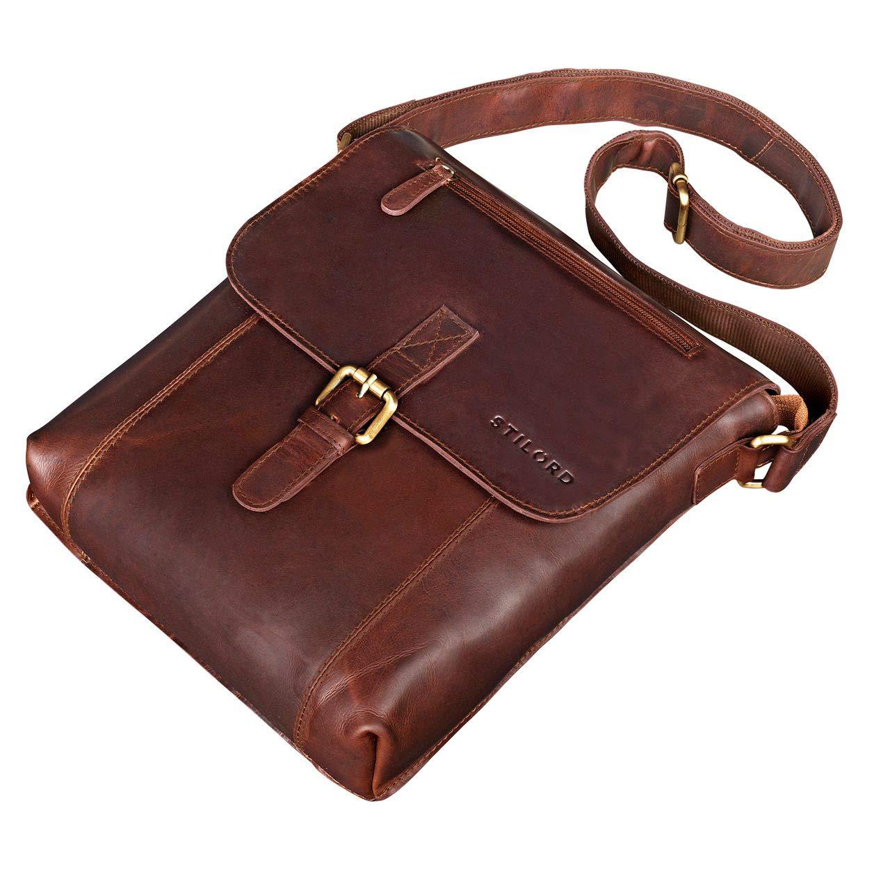 4bed9a32bf4890 STILORD 'Matthias' Herren Umhängetasche Leder Vintage Messenger Tasche 10.1  Zoll Tablettasche klein Schultertasche echtes Rinds-Leder, Farbe:Cognac ...