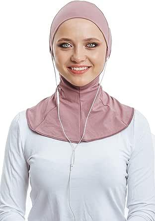 VeilWear Headphone Hijab, Cotton Under Scarf Tube Cap, Ready to wear Muslim Accessories for Women