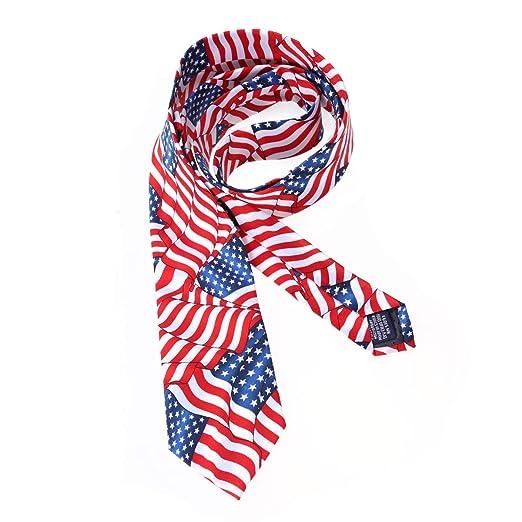 Amosfun Corbata de los Hombres Corbata con Bandera Americana ...