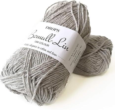 Hilo de algodón y lino, 4 o mediano, peso Aran, gotas de bomull-lino, 1.8 oz 93 yardas por bola: Amazon.es: Juguetes y juegos