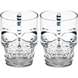 Circleware Clear Heavy Base Glass Skull Face Drinking Mugs, Set of 2, 18 oz., Clear