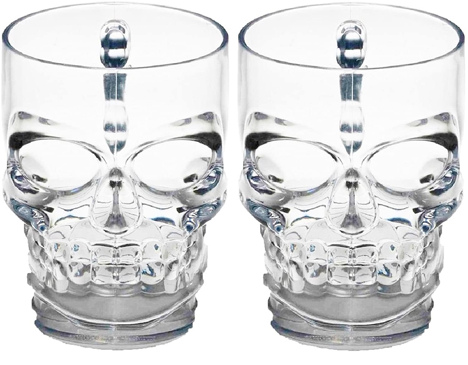 Circleware 76980 Skull Face Beer Mug Drinking Glasses with Handle, Set of 2, Heavy Base Funny Entertainment Glassware for Water, Juice and Halloween Decorations Beverage Gifts, 18 oz
