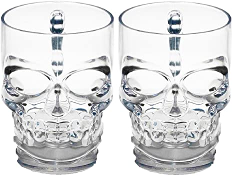 474375a308b Circleware 76980 Skull Face Beer Mug Drinking Glasses with Handle, Set of  2, Heavy Base Funny Entertainment Glassware for Water, Juice and Halloween  ...