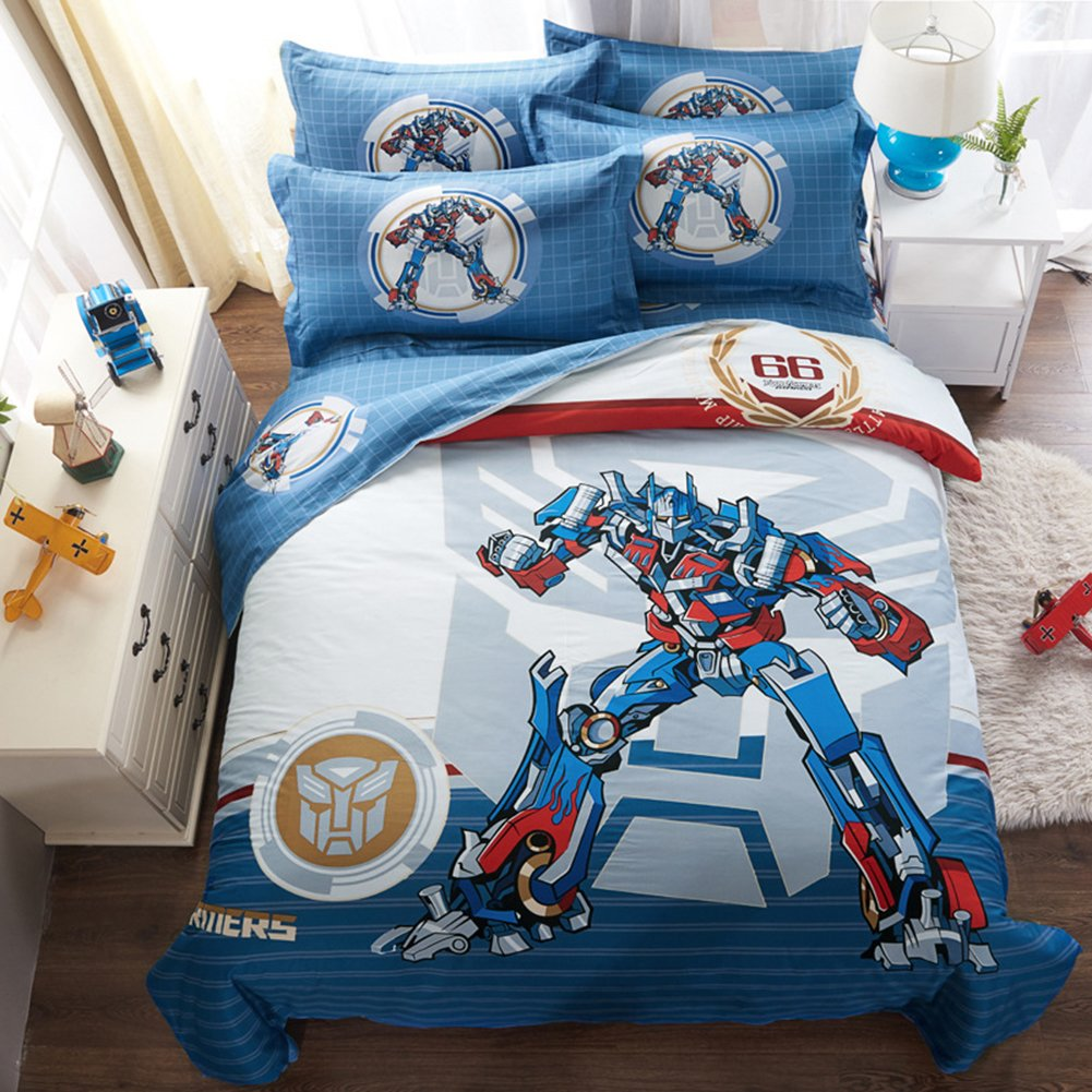 Cartoon Transformer Bedding Sets - Pure Cotton Home Textiles Children Gift on Birthday Christmas Duvet Cover and Fitted Sheet Queen