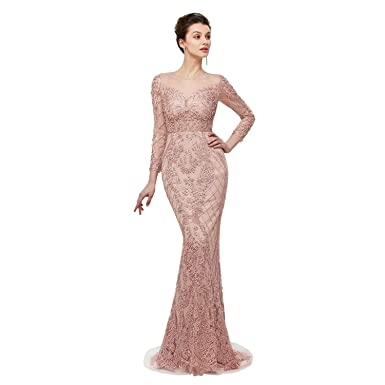 19dcf90e94c Leyidress Women s Pink Pearl Mermaid Evening Dresses Long Sleeve Lace Prom  Dresses Bridal Pageant Gown US