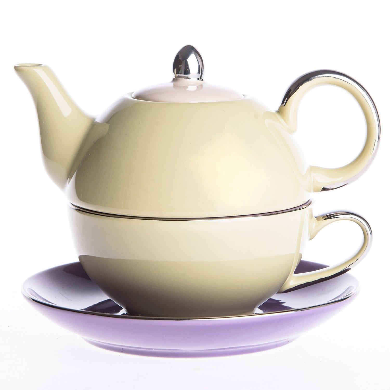 Artvigor Porcelain Tea Set for One, Mixed Colors Glazed Teapot Teacup and Saucer (Yellow&Purple)