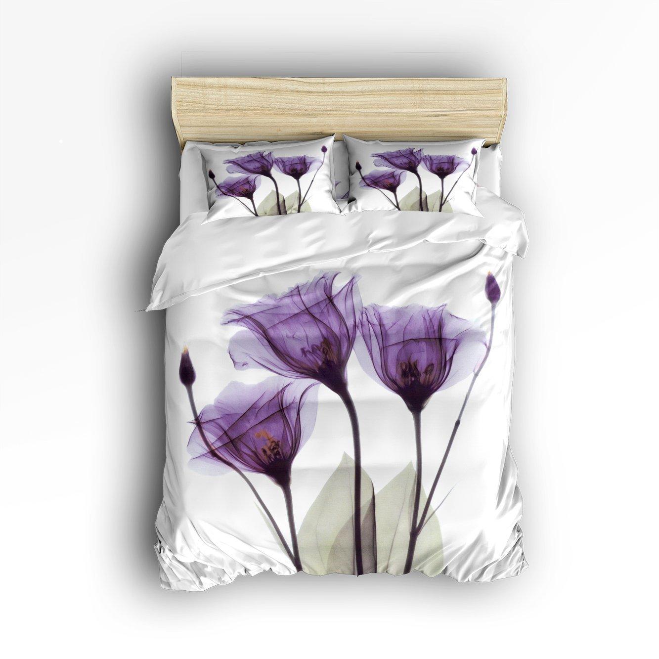 4 Pieces Bed Sheets Set, Purple Flower ''Lavender Hope'',Bedding Sets Duvet Cover Sets Bedspread for Adult Kids,Flat Sheet, Shams Set for Kids Teenage TeensQueen Size