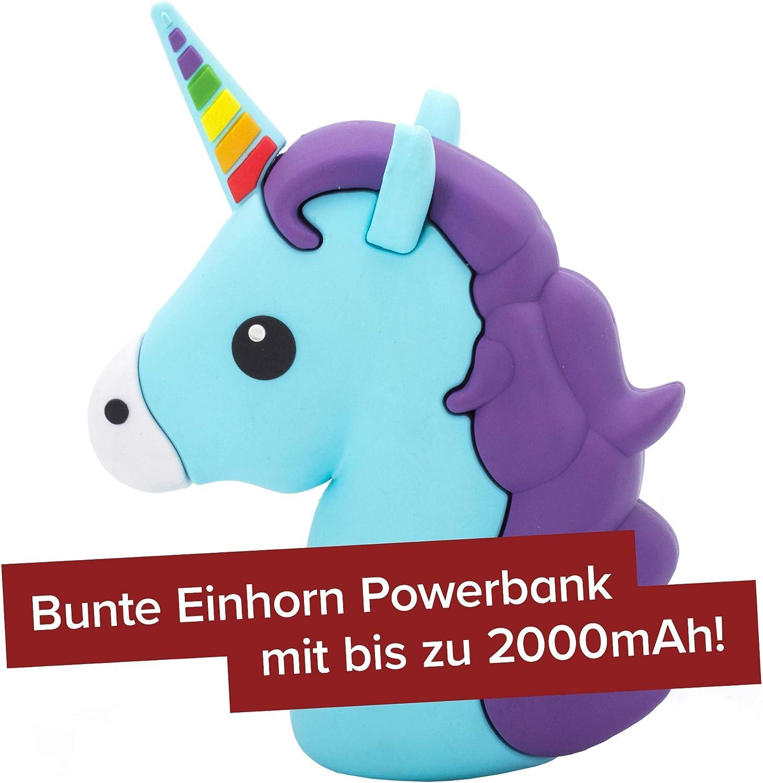Monsterzeug Einhorn Powerbank Im Emoticon Design Unicorn Universal Handyladegerät Für Smartphone Externer 2600 Mah Akku Mit Usb Kabelanschluss Küche Haushalt