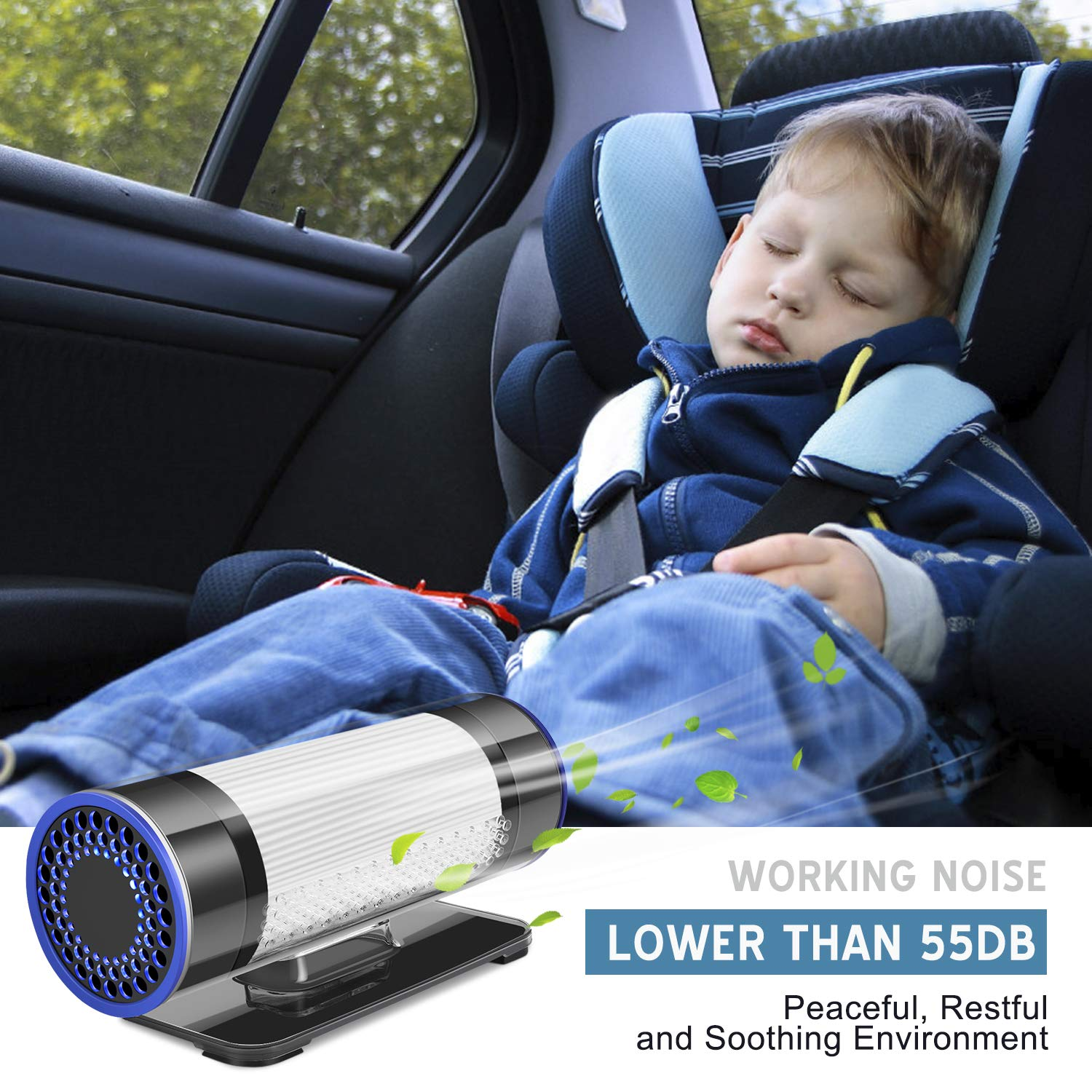 QUEENTY Car Air Purifier - True HEPA & Active Carbon Filter, Automotive Car Air Freshener for Allergies, Small Room, Home, Office, Remove Dust, Smoke, Pollen, Odors, Smell, With USB Cable, Car Charger