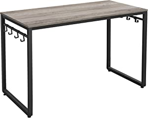 VASAGLE Computer Writing Desk with 8 Hooks, for Home Office, Simple Study PC Table, 47.2'', Greige
