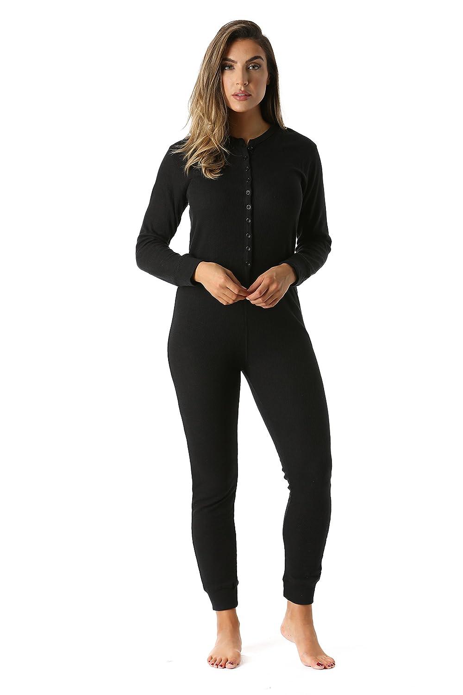 Black  followme Women's Thermal Henley Onesie Union Suit