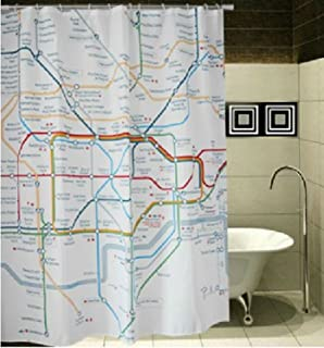 Vintage London Underground Map Shower Curtain With 12 Hooks For Bathroom