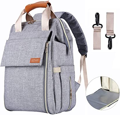 Stylish Multi-function Baby Nappy Changing Bag With Changing Pad Grey