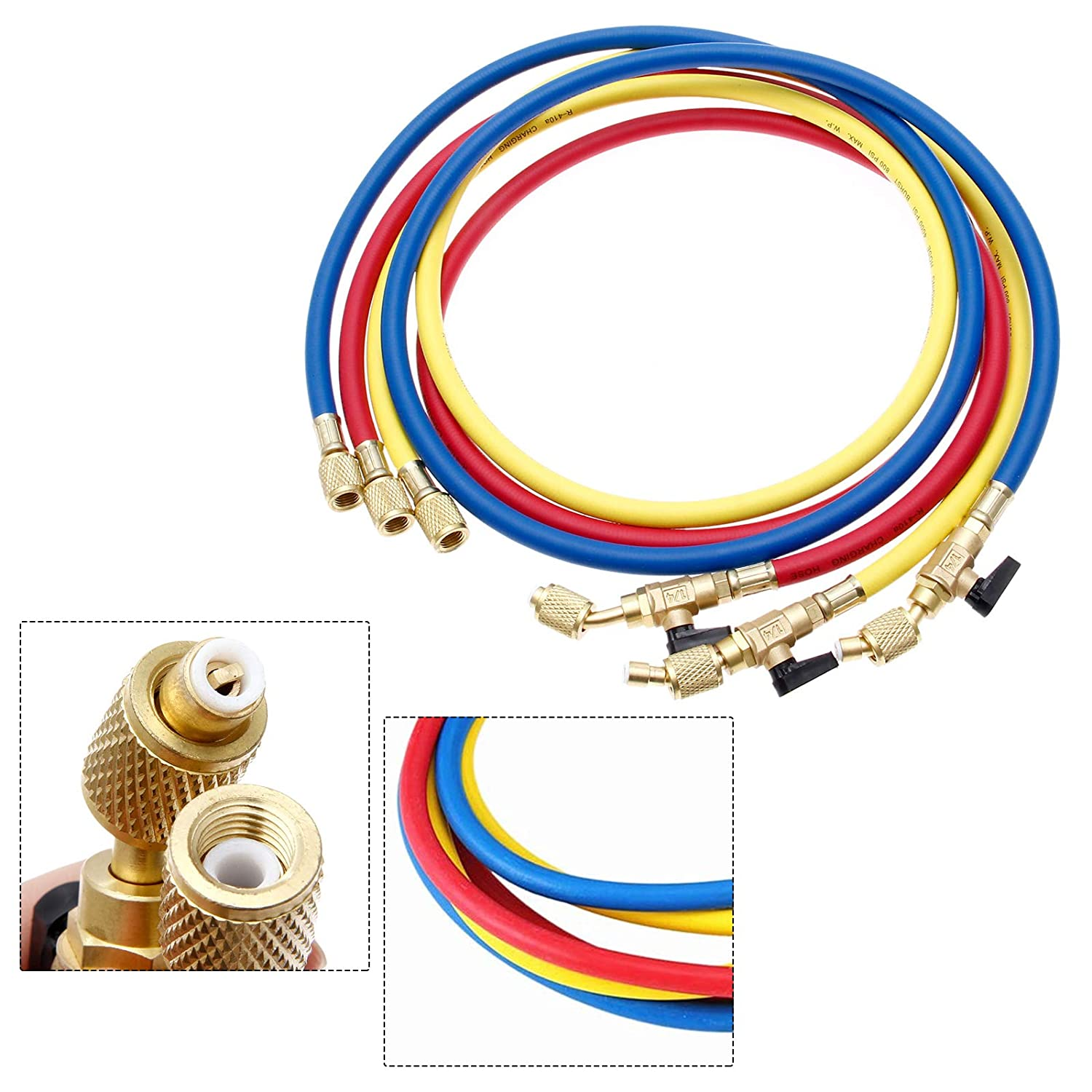 Refrigerant Charging Hose HVAC 1//4 SAE R134A 800 PSI Fit for R12 R22 R502 R404 Coolant Adding and Air Condition Maintenance 3-Color 3 Pcs
