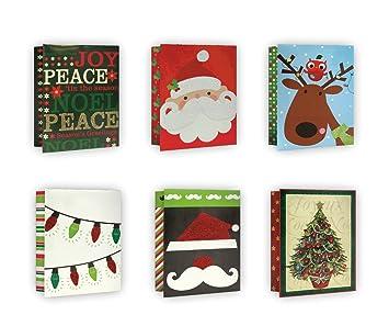 Amazon.com: 6 Pack of Mini Christmas Gift Bags Xmas Giftbags - With ...