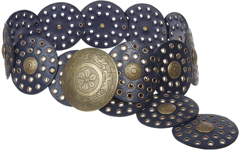 BBBelts Women 3-1//2 Tan Segmented Hollow Studded Disc Brass Buckle Leather Belt