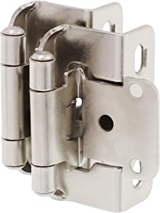 "DecoBasics 1/2"" Overlay 3/4"" Frame Partial Semi Wrap Cabinet Hinge (20 Pack, Brushed Nickel)"