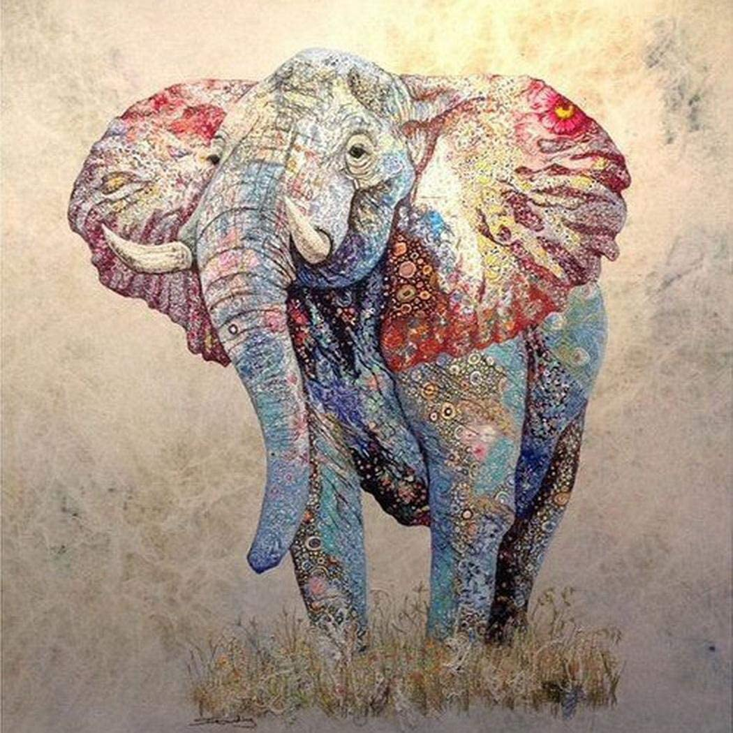Wumedy DIY Elephant-Pattern Rhinestone Painting Home Living Room Decor Cross-Stitch