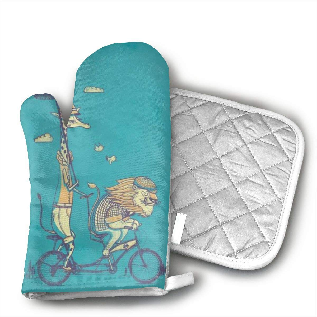 Funny Lion Giraffe Bicycle Oven Mitt and Pot Holder or Oven Gloves-100% Cotton, Heat Resistance, Superior Protection & Comfort