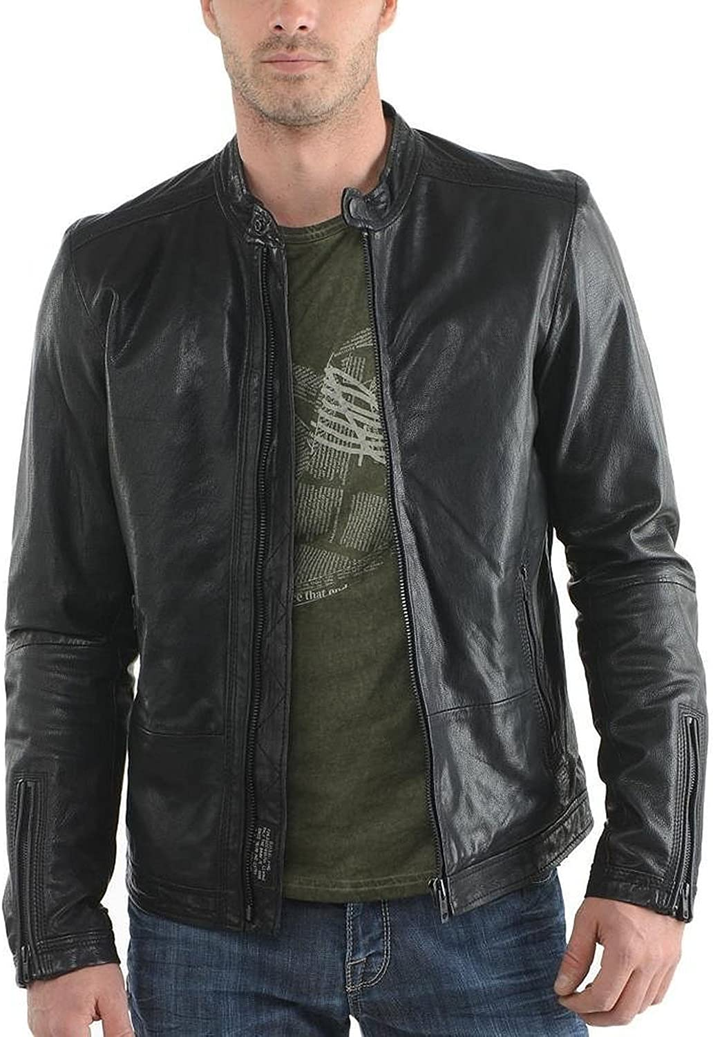 Laverapelle Mens Genuine Lambskin Leather Jacket Black, Classic Jacket 1501210