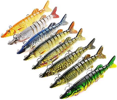 "5 /""Multi-jointed 9-segments Pike Muskie Plastic Fishing Lures Hard Bait Populair"