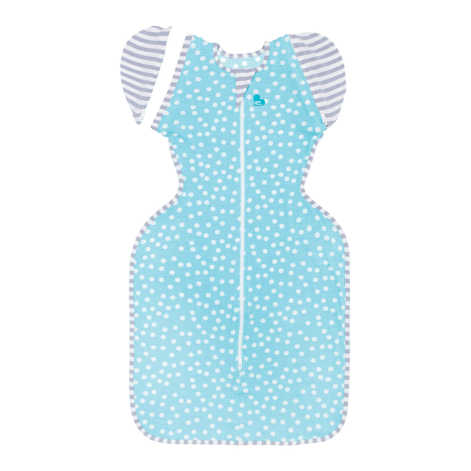 Love To Dream Swaddle UP 50/50 Transition Bag Lite, Aqua, Medium, 13-19 lbs, Patented Zip-Off Wings, Gently Help Baby Safely Transition from Being swaddled to arms Free Before Rolling Over by Love to Dream (Image #1)