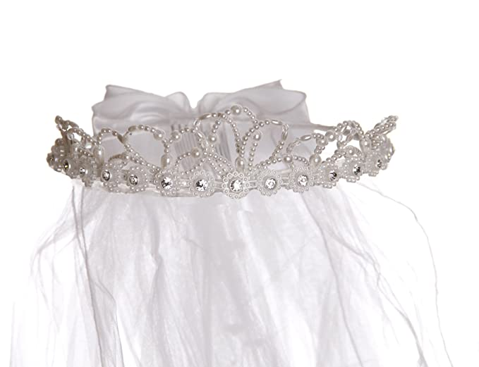 Niñas White Pearl Accent Veil Corona Diadema: Amazon.es: Ropa y accesorios