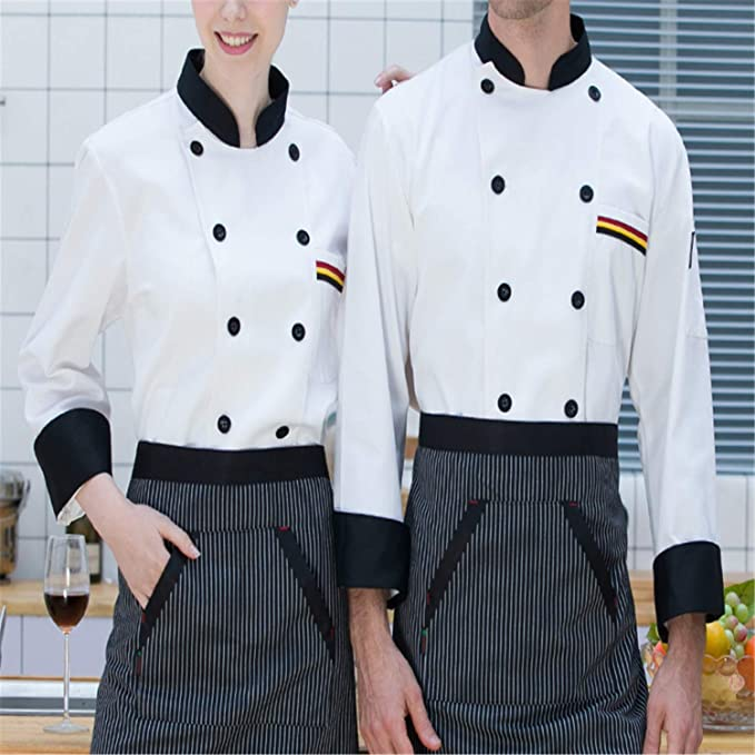 Amazon.com: Woodin-Men chamarra de chef, uniforme de trabajo ...