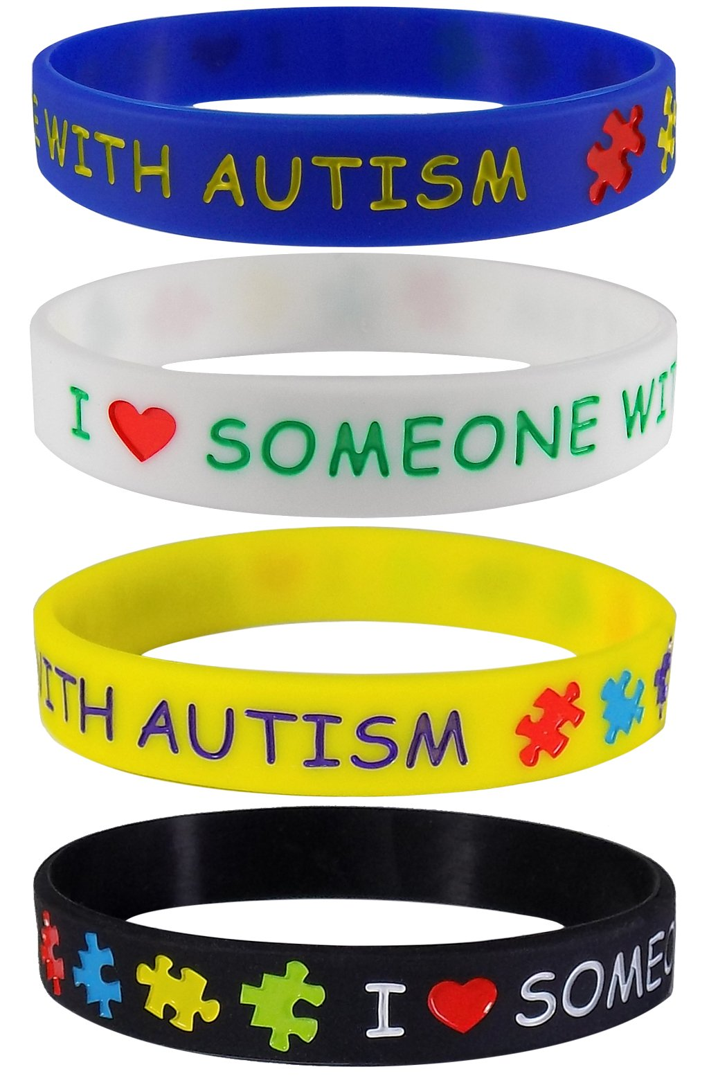 Max Petals I Love Someone with Autism Silicone Wristbands Blue, Yellow, Black and White (4 Pack)